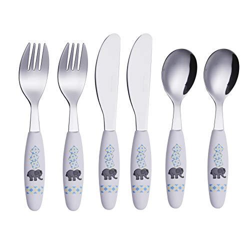 Exzact - 6 Pieza para niños cubertería - 2 x Cena Cuchillo, 2 x Cena Tenedor, 2 x Cena cuchar (Elefante x 6)