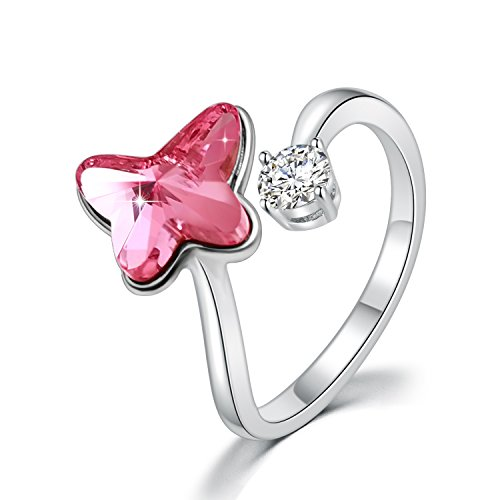 Modeschmuck Ring Damen - Frauenringe - Kristalle von Swarovski - Schmetterling Blume Ball Stern Mond Edelstein Ring, Ajustable M Größe, Mode Elegante Schmuck Geschenke (Schmetterling Rosa)