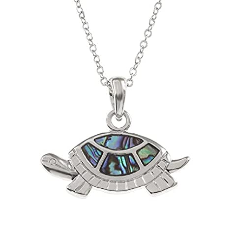 BellaMira Abalone Tortoise Silver Plated Necklace Exotic Jewellery Inlaid with Natural Genuine Paua Shell Responsibly Sourced From New Zealand In Elegant Gift Box