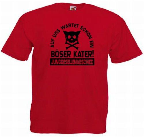 T-Shirt für den Junggesellinnenabschied mit dem Motiv Böser Kater Rot
