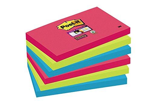 Post-it 655SJ5+1 Haftnotiz Super Sticky Notes Promotion Bora Bora Collection, 76 x 127 mm, 6 Blöcke, 90 Blatt, mohnrot/neongrün/ultrablau