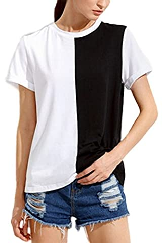 Women's Elegant Short Sleeeve Scoop Neck Colorblock T-Shirt White S