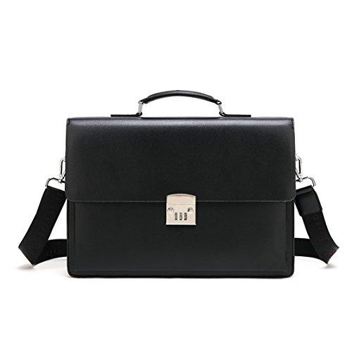 Mioy Vintage Leder Aktentasche Herren 14 Zoll Laptop Umhängetasche Classic Messenger Bag Moderne Ledertasche Wasserdichte Schultertasche (Schwarz) - Classic Messenger Bag