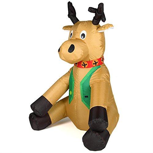 Bakaji renna natalizia gonfiabile seduta autogonfiabile grande altezza 120 cm con illuminazione a led e kit fissaggio per esterno protezione ip44 addobbo e decorazione di natale