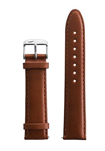 BULLAZO Uhrenarmband mit Schnellwechselfunktion, 20mm, Leder, Braun Silber