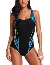CharmLeaks Women Sports One Piece Swimming Costumes Racer Back Surf Swimsuits Swimwear