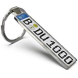 Wunderding Kennzeichen Schlüsselanhänger - Personalisiertes Mini Kfz-Kennzeichen als Schlüssel-Anhänger, Männer und leidenschaftliche Autofans (Silber)