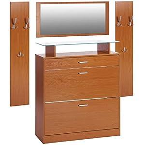ts-ideen 4er Set Garderobe Spiegel Schuhschrank Schuhkipper 2 Wandpaneele Kleiderhaken Buchenoptik