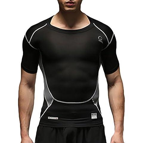 Jimmy Design Mens Compression Printed Sport Short Sleeve