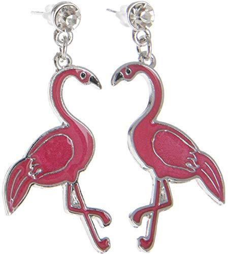 (Killer Kirsche Damen Ohrstecker Pieke Flamingo Schmuck Anhänger ca. 5cm x 2,5cm)