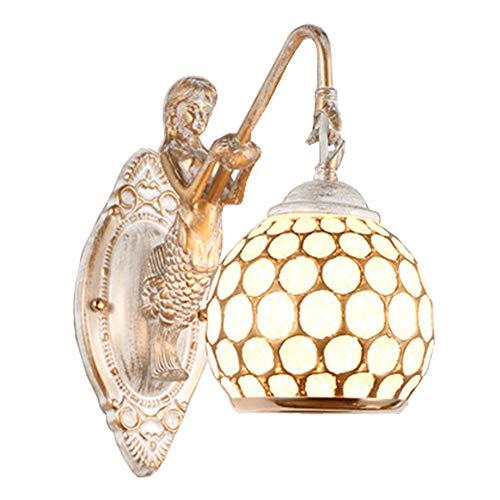 Wandlampe Retro Antik Pastoral Design Eisen Kunst Blütenblatt LED Wandleuchter Wandlight...