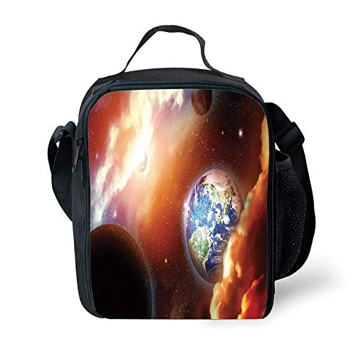 ZKHTO School Supplies Space,Dust Cloud Nebula Stars in Solar System Scene with Planet Earth Pluto and Neptune,Orange Blue for Girls or Boys Washable (Pluto Lunch-box)