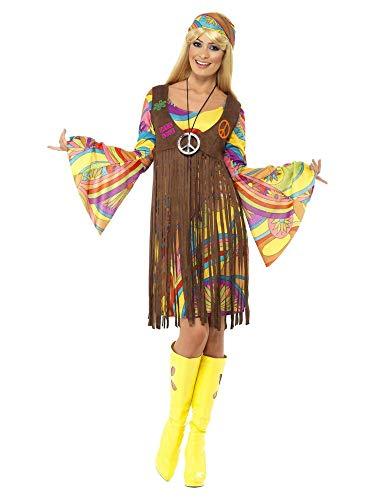 Weste Fransen Kostüm - shoperama 1960s Groovy Lady Hippie Damen-Kostüm Kleid Fransen-Weste Stirnband 70er Jahre Seventies Sixties Flower Power Festival, Größe:XL
