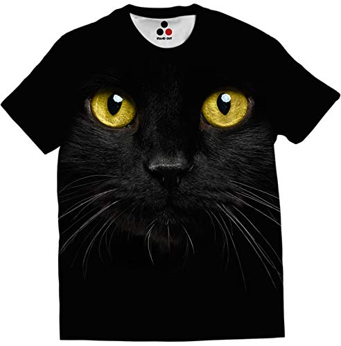 STAND OUT - Black Cat T-Shirt | Limited Edition | Front & Back Printed | Photo Realistic | Animal Print | Pet | Dry fit Black Color Round Neck Unisex Off White T-Shirt (X-Large, Black)