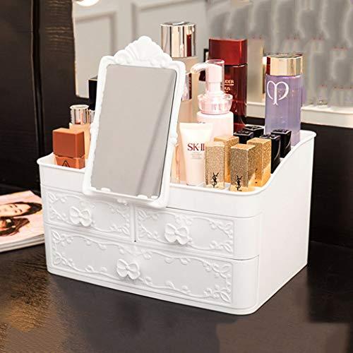 Kunststoff Makeup Organizer,Schreibtisch Organizer Schubladentyp Mit Spiegel Hautpflegeständer sind undurchlässig Staubdicht Beseitigen Sie Unordnung EFFIZIENTER PLATZSPARER-B