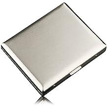 CaLeQi High-Grade Edelstahl Zigarettenetui, Nickel Überzug Wire Drawing, hält 20 Zigaretten. (Mit Marken-Geschenk-Box)