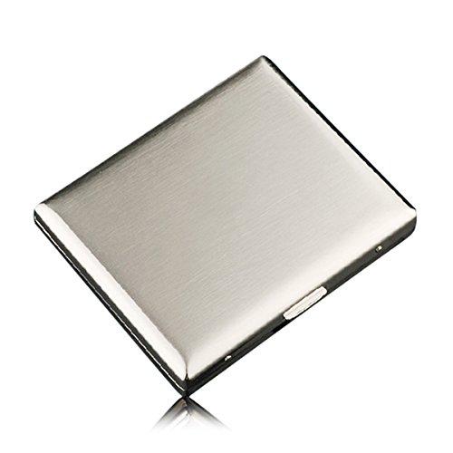 CaLeQi High-Grade Edelstahl Zigarettenetui, Nickel Überzug Wire Drawing, hält 20 Zigaretten. (Mit Marken-Geschenk-Box) -