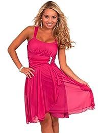 Damen Cocktail Mini Kleid Chiffon knielang mit Rüschen ärmellos