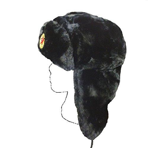 Russian Trapper Hat Men's Ladies Soft Faux Fur Ushanka Cossack Flaps BLACK