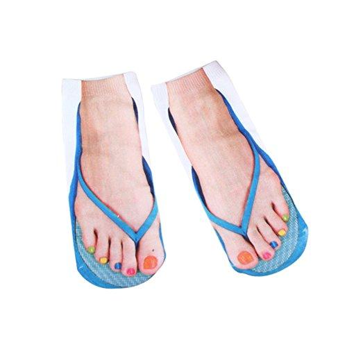 Reefa Womens Ankle Socken, 3D Flip Flops Muster Gedruckt Low Cut No Show Baumwollsocken