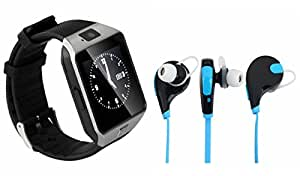 MIRZA DZ09 Smart Watch & Bluetooth Headset for XOLO Q1000 OPUS(Bluetooth Headset & Bluetooth DZ09 Smart Watch Wrist Watch Phone with Camera & SIM Card Support Hot Fashion New Arrival Best Selling Premium Quality Lowest Price with Apps like Facebook, Whatsapp, Twitter, Sports, Health, Pedometer, Sedentary Remind & Sleep Monitoring, Better Display, Loud Speaker, Microphone, Touch Screen, Multi-Language, Compatible with Android iOS Mobile Tablet-Assorted Color)