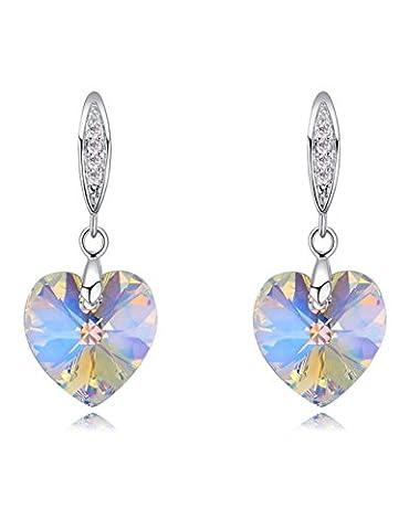 FANSING Jewellery Austrian Heart Aurora Borealis AB Crystal Drop Earrings for Women White 3.2cm*1.3cm