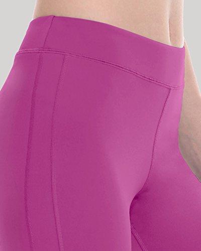 SYROKAN Femme Legging Sport Collant Capri de Running Pure Lime Fitness Pantalon Fuchsia