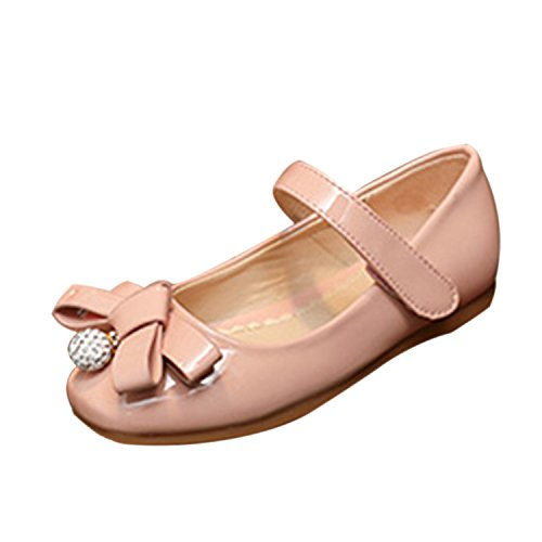 Oasap Girl's Bow Velcro Mary Jane Shoes apricot
