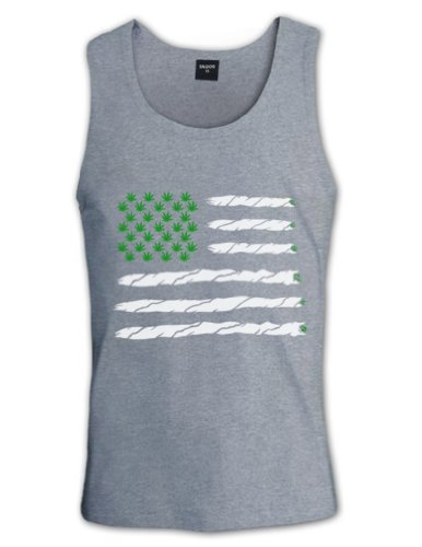 Green Turtle T-Shirts Weed American Flag Grau XX-Large Tank Top