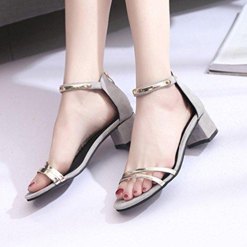 Transer ® Femmes talons sandales Open Toe chaussures d'été Gris