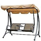 Outsunny 2-Sitzer Hollywoodschaukel Schaukel mit Sonnendach Gartenschaukel Schaukelbank Ablage Metall Braun + Schwarz 195 x 115 x 172 cm