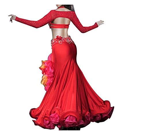 ZYLL Bauchtanz Kostüm Set für Mädchen Performance-Kleid Professionelles Outfit Mit Strass/Glasbohrer 4 STÜCK,A,M