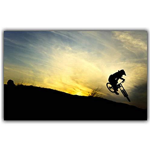 Mountainbike Wettbewerb Poster Malerei Auf Leinwand Dekoration Mode Seide Stoff Kunst Wand Poster Auto Design Tapete (50x80 cm kein Rahmen)