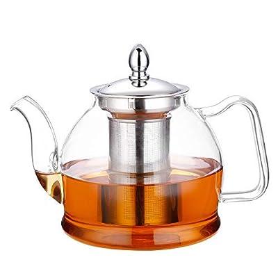 Hiware 1000ml Théière en verre avec infuseur amovible, cuisinière Safe Théière, Blooming et pots de thé en vrac