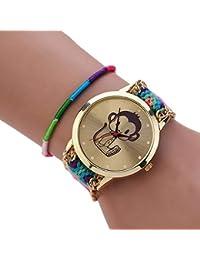 woman Bracelet Watch - SODIAL(R)woman National Wind Weave DIY little monkey Bracelet Watch 10#