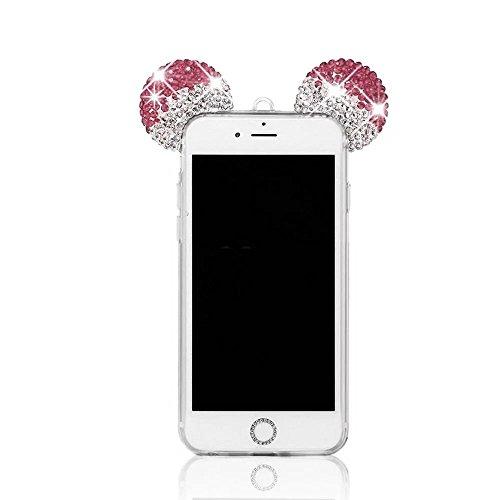 MOMDAD Souple Coque pour Apple iPhone 4 4S TPU Silicone Étui iPhone 4 4S Soft Housse Protecteur Case iPhone 4 4S Transparent Coque iPhone 4 4S Absorbant Chocs Protection Étui iPhone 4 4S Anti-Scratch  Mickey Transparent-Rose