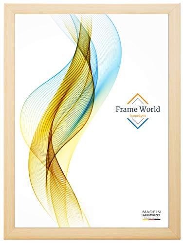 Frame World FW35 Bilderrahmen für 25 cm x 110 cm Bilder, Farbe: Natur-Ahorn, mit entspiegeltem Acrylglas (Bruchsicher) und HDF-Holz Rückwand in Weiß, Leistenbreite 35 mm -