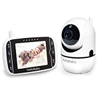 HelloBaby Baby Monitor with Remote Pan-Tilt-Zoom Camera and 3.2'' LCD Screen, Infrared Night Vision, Temperature Display, Lullaby, Two Way Audio, with Wall Mount Kit HB65
