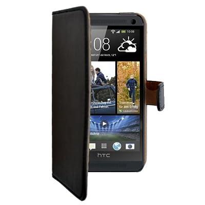 """Slabo Flip Case Cover Bookstyle für HTC One - """"Echt Leder"""" - SCHWARZ   BLACK von Slabo - Lampenhans.de"""