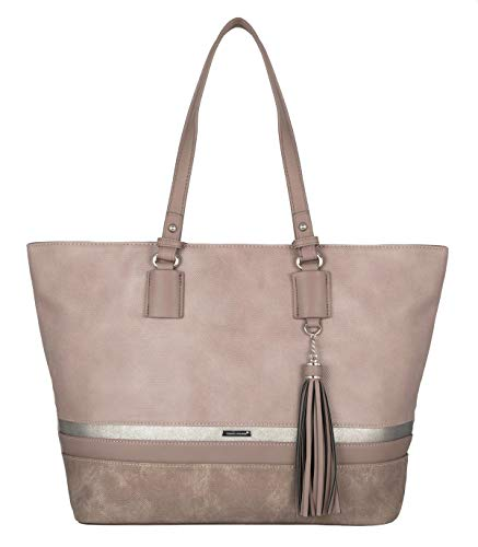 Gestreifte Damen Handtasche (David Jones - Damen Large Size Tote Henkeltasche - Lange Henkel Frauen Schultertasche - Streifen Multicolor Top-Handle Bag - Shopper Aktentasche Schultasche - Waterproof Canvas - Pink)