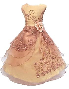 LSERVER- Pizzo Floreale Bowknot del Organza ragazza vestito ricamato con paillette da ragazza Princess-Abito da...