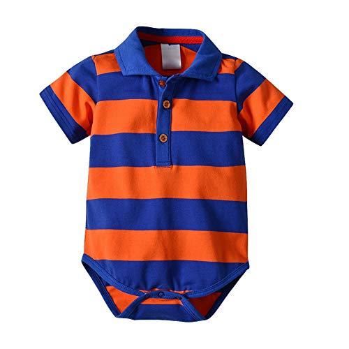 Hongyuangl Baby Junge Bodysuit Herren Polo Shirt Kurzarm Streifen Strampler Overall Polo Bodysuit