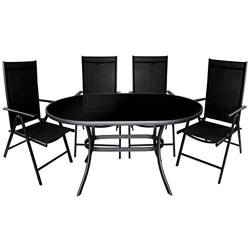 5tlg. Gartengarnitur Aluminium Glastisch 140x90cm mit schwarzer Tischglasplatte + Alu Hochlehner 7-Positionen 2x2 Textilenbespannung Sitzgarnitur Sitzgruppe Anthrazit / Schwarz