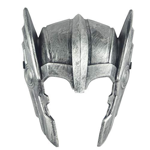 Avengers Thor Kostüm Kinder - QWEASZER Thor: Ragnarök Halloween Thor Helm Cosplay Kostüm Erwachsene Männer Kostümfest Kopfbedeckungen Merchandise Accessoires,Silver-OneSize