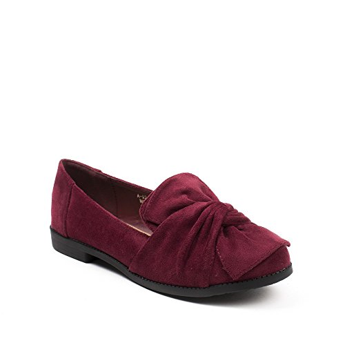 Ideal Shoes Slippers à Nœud Effet Daim Tamar Bordeaux