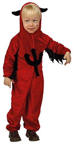 Teufel Kinder Kostüm Devil Overall Kleinkind rot Dracula Vampir Dämon Hörner Dreizack Größe 92, 104, 128 - ()