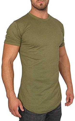 MMC Oversize Shirt Herren - Basic T-Shirt Männer - Kurzarm Longshirt (L, Kaki)