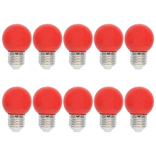 10X E27 Ampoules de Couleur 1W Rouge LED Bulb PC Ampoule Décoration 100LM Super Brillant Couleur à LED AC220V-240V