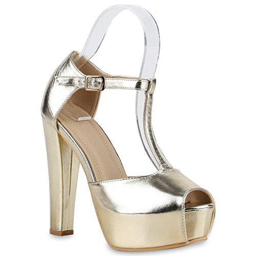 Damen Sandaletten Plateau Blockabsatz High Heels Schuhe Gold Riemchen