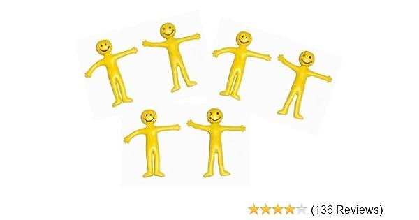 40 x Stretchy Smiley Men Kids Party Fun Loot Bag Filler Mini Stress Toy Yellow